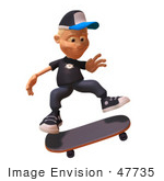 #47735 Royalty-Free (Rf) Illustration Of A 3d White Boy Skateboarding - Version 1