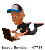 #47736 Royalty-Free (Rf) Illustration Of A 3d White Boy Using A Laptop - Version 2