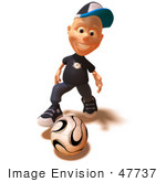 #47737 Royalty-Free (Rf) Illustration Of A 3d White Boy Playing Soccer - Version 1