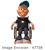 #47738 Royalty-Free (Rf) Illustration Of A 3d White Boy In A Wheelchair - Version 1