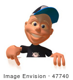 #47740 Royalty-Free (RF) Illustration Of A 3d White Boy Pointing Down And Standing Behind A Blank Sign by Julos