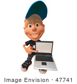 #47741 Royalty-Free (Rf) Illustration Of A 3d White Boy Holding A Laptop - Version 3