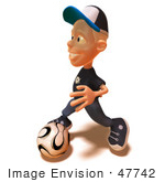 #47742 Royalty-Free (Rf) Illustration Of A 3d White Boy Playing Soccer - Version 2