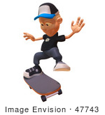 #47743 Royalty-Free (Rf) Illustration Of A 3d White Boy Skateboarding - Version 5