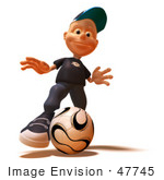 #47745 Royalty-Free (RF) Illustration Of A 3d White Boy Playing Soccer - Version 3 by Julos