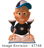 #47748 Royalty-Free (Rf) Illustration Of A 3d White Boy Reading On His Belly