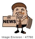 #47760 Royalty-Free (Rf) Illustration Of A Newsman Mascot Holding Up A Paper Brown Tones