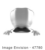 #47780 Royalty-Free (Rf) Illustration Of A 3d Chef Hat Mascot With A Mustache Standing Behind A Blank Sign