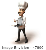 #47800 Royalty-Free (Rf) Illustration Of A 3d Gourmet Chef Mascot Holding A Laptop - Version 4