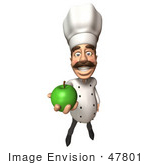 #47801 Royalty-Free (Rf) Illustration Of A 3d Gourmet Chef Mascot Eating A Green Apple - Version 3