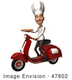 #47802 Royalty-Free (Rf) Illustration Of A 3d White Chef Man Mascot Delivering A Pizza On A Scooter