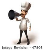 #47806 Royalty-Free (Rf) Illustration Of A 3d Gourmet Chef Mascot Using A Megaphone - Version 5