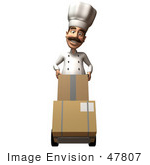 #47807 Royalty-Free (Rf) Illustration Of A 3d Gourmet Chef Mascot Moving Boxes On A Dolly - Version 1
