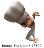 #47809 Royalty-Free (Rf) Illustration Of A 3d Gourmet Chef Mascot Looking Around A Blank Sign - Version 2