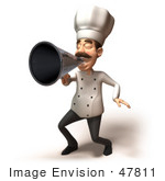 #47811 Royalty-Free (Rf) Illustration Of A 3d Gourmet Chef Mascot Using A Megaphone - Version 3