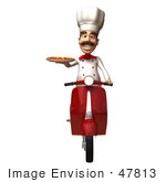 #47813 Royalty-Free (Rf) Illustration Of A 3d Gourmet Chef Mascot Delivering Pizza On A Scooter - Version 3