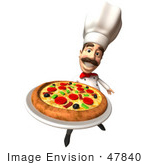 #47840 Royalty-Free (Rf) Illustration Of A 3d Gourmet Chef Mascot Serving A Pizza Pie - Version 4