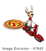 #47843 Royalty-Free (Rf) Illustration Of A 3d Gourmet Chef Mascot Delivering Pizza On A Scooter - Version 5