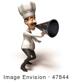 #47844 Royalty-Free (Rf) Illustration Of A 3d Gourmet Chef Mascot Using A Megaphone - Version 4