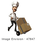 #47847 Royalty-Free (Rf) Illustration Of A 3d Gourmet Chef Mascot Moving Boxes On A Dolly - Version 2