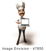 #47850 Royalty-Free (Rf) Illustration Of A 3d Gourmet Chef Mascot Holding A Laptop - Version 1