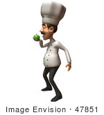 #47851 Royalty-Free (Rf) Illustration Of A 3d Gourmet Chef Mascot Eating A Green Apple - Version 2