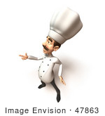 #47863 Royalty-Free (Rf) Illustration Of A 3d Gourmet Chef Mascot Pointing His Fingers Like A Gun - Version 1