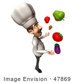 #47869 Royalty-Free (Rf) Illustration Of A 3d Gourmet Chef Mascot Juggling Veggies - Version 4