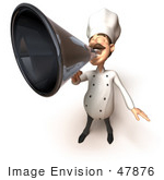 #47876 Royalty-Free (Rf) Illustration Of A 3d Gourmet Chef Mascot Using A Megaphone - Version 2