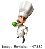 #47882 Royalty-Free (Rf) Illustration Of A 3d Gourmet Chef Mascot Eating A Green Apple - Version 5