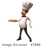 #47886 Royalty-Free (Rf) Illustration Of A 3d Gourmet Chef Mascot Serving A Pizza Pie - Version 2