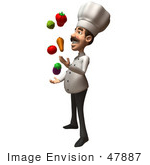 #47887 Royalty-Free (Rf) Illustration Of A 3d Gourmet Chef Mascot Juggling Veggies - Version 2