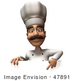 #47891 Royalty-Free (Rf) Illustration Of A 3d Gourmet Chef Mascot Standing Behind A Blank Sign - Version 3