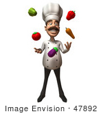 #47892 Royalty-Free (Rf) Illustration Of A 3d Gourmet Chef Mascot Juggling Veggies - Version 1