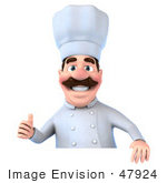 #47924 Royalty-Free (Rf) Illustration Of A 3d Head Chef Mascot Giving The Thumbs Up And Standing Behind A Blank Sign