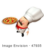 #47935 Royalty-Free (Rf) Illustration Of A 3d Chubby Executive Chef Mascot Serving A Pizza Pie - Version 4
