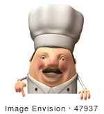 #47937 Royalty-Free (Rf) Illustration Of A 3d Chubby Executive Chef Mascot Standing Behind A Blank Sign - Version 2