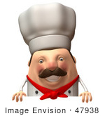#47938 Royalty-Free (Rf) Illustration Of A 3d Chubby Executive Chef Mascot Standing Behind A Blank Sign - Version 3