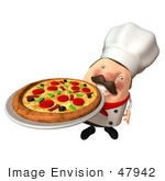 #47942 Royalty-Free (Rf) Illustration Of A 3d Chubby Executive Chef Mascot Serving A Pizza Pie - Version 3