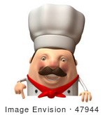 #47944 Royalty-Free (Rf) Illustration Of A 3d Chubby Executive Chef Mascot Standing Behind A Blank Sign - Version 4