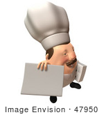 #47950 Royalty-Free (Rf) Illustration Of A 3d Chubby Executive Chef Mascot Holding A Blank Menu Or Sign - Version 4