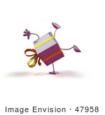 #47958 Royalty-Free (Rf) Illustration Of A 3d Purple Present Mascot Doing A Cartwheel - Version 1