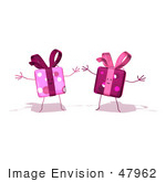 #47962 Royalty-Free (Rf) Illustration Of Two 3d Present Mascots Holding Their Arms Open - Version 3