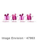 #47963 Royalty-Free (Rf) Illustration Of Four Pink 3d Present Mascots Waving - Version 1