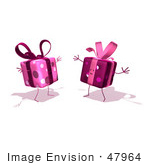#47964 Royalty-Free (Rf) Illustration Of Two 3d Present Mascots Holding Their Arms Open - Version 4