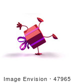 #47965 Royalty-Free (Rf) Illustration Of A 3d Red Present Mascot Doing A Cartwheel
