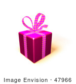 #47966 Royalty-Free (Rf) Illustration Of A Gift Wrapped In Purple Paper With A Polka Dot Bow And Ribbons - Version 3