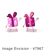 #47967 Royalty-Free (Rf) Illustration Of Two 3d Present Mascots Waving - Version 1
