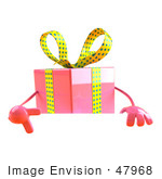 #47968 Royalty-Free (Rf) Illustration Of A 3d Pink Present Mascot Standing Behind A Blank Sign - Version 3