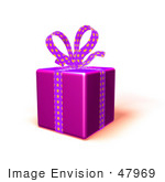 #47969 Royalty-Free (Rf) Illustration Of A Gift Wrapped In Purple Paper With A Polka Dot Bow And Ribbons - Version 4